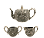 Late 19C Chinese Silver Bamboo Tea Set Mk w Box