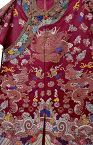 19C Chinese Silk Embroidery Purple Dragon Robe Brocade
