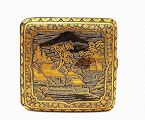 Meiji Japanese Mix Metal Komai Cigarette Case Farm Sc