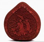 18C Chinese Cinnabar Lacquer Heart Shape Box Figure